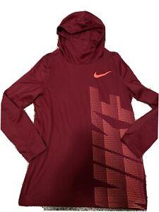 NIKE Boys Long Sleeve Hooded Shirt Size Extra Large XL Red