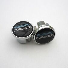 Vintage Style Shimano, Dura Ace on Black, Chrome Racing Bar Plugs, Caps, Repro