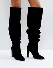 NEW MORGAN BLACK SUEDE LEAHTER SLOUCH HIGH HEEL BOOTS SIZE 8