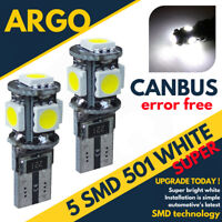 2x 501 T10 W5w 194 Sidelight Bright White Light Xenon Bulbs 12v Side Canbus Smd