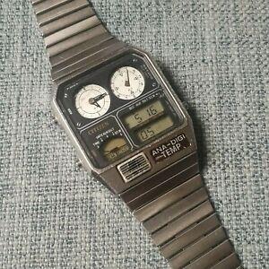 vintage citizen 8982-085019 ana-digi temp silver quartz watch japan from 1983