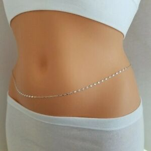 925 Sterling Silver Sexy Belly Chain Waist Chest Body Chain Jewelry For Women