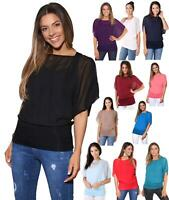 Womens Baggy Batwing T Shirt Top Ladies Oversized Blouse Chiffon 2in1 Plus Size