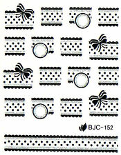 Black Silver Glitter Bows Laces Dots Water Transfer Nail Art Stickers Decals