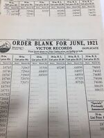 Vintage Lot Of Ten 1921 Victor Talking  Machine Advance Order Forms Rare!