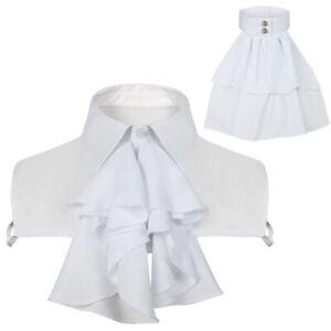 Medieval Victorian Women Men Ruffles Shirt Collar Tie Neck Halloween Cosplay