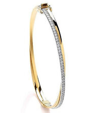 9CT HALLMARKED POLISHED YELLOW GOLD CROSSOVER LADIES BANGLE  7.5""