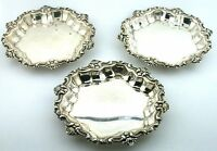 THREE 3 3/5 x 2/5 INCH FRANK M WHITING PURE 925 STERLING SILVER BUTTER PAT DISH