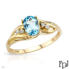 FPJ Blue Topaz Oval 7X5 mm 1 ct with 4 CZ Accents Ring 10K Yellow Gold Size 6
