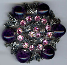 SCHIAPARELLI PURPLE AMETHYST GLASS & SPARKLE PINK RHINESTONE PIN BROOCH