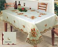 Christmas Embroidered Candle Tablecloth With Napkins BEIGE Creative Linens 3838E