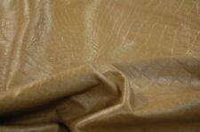 Tan Alligator Crocodile Imprint Cow Hide Upholstery Leather Skin  E98c