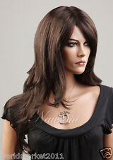Sweet lovely Inclined Fringe Kanekalon Dark Brown Long Curly Hair Women Wig