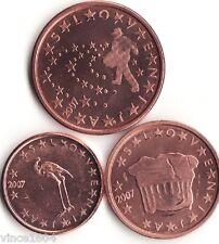 lot 1,2,5 cts cent centimes euro Slovénie / Slovenia 2007 qualité UNC !!