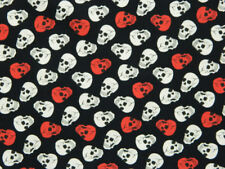 Quilting Patchwork Material Sewing Fabric RED AND WHITE SKULLS 50x55cm FQ New