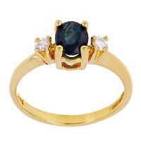 14k Yellow Gold Oval Sapphire & Diamond Past Present & Future Ring Size 6.5