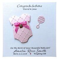 Personalised NEW BABY Girl Card Handmade