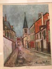 "Eglise de Strins (Seine)  Maurice Utrillo Mid Century Print on Canvas 21"" x 25"""