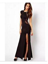 Robe longue en dentelle noir de soirée cocktail - prom dress