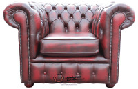 Chesterfield London English Low Back Club Armchair Oxblood Leather
