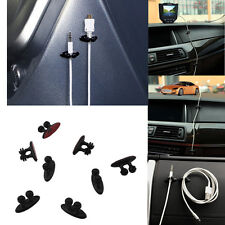 8Pcs Black Car Charger Line Headphone USB Cable Car Clip Interior Accessories