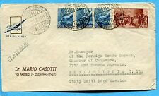1946 AVV.REPUBBLICA £.20 + DEM.£.15 x 3 ann.CREMONA  per gli USA  (209489)