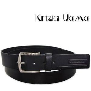 Krizia Cintura Cinta Uomo XL 100% Vera Pelle Nera Cuoio 135 cm Made in Italy