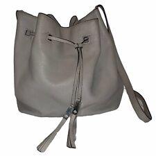 KATE SPADE Gray Cooper Street Pebbled Leather Bucket Drawstring Crossbody Bag