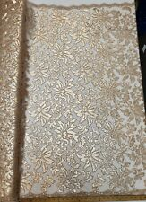 """Nude Floral Embroidery Nylon Crochet Mesh Prom Sequin Fabric """"The Beyonce Lace"""""""