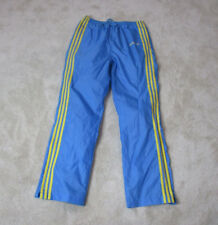 VINTAGE Adidas Windbreaker Pants Adult Large Blue Yellow Spell Out Trefoil 80s *