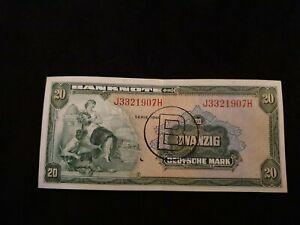 Geldschein, Bank Deutscher Länder, 20 Deutsche Mark, Erhaltung: sehr Schön,1948