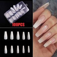 CW_ 100Pcs Long Fake Nail Tip Ballerina False Fingernail Full Cover Manicure Dec