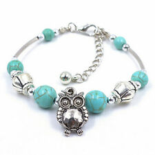 Fashion Owls Bracelet - Chain Bracelet With Infinity Charm Turquoise Braclet  FT
