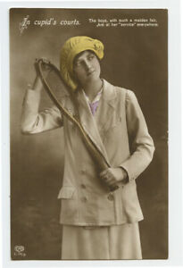 1910s Sports Glamour Lady TENNIS PLAYER BEAUTY w/ Racquet photo  postcard