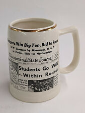 Vintage 1959 Wisconsin Badgers Win Big Ten Ceramic Gold Rim Stein Rose Bowl