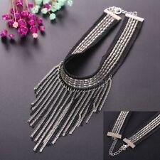 Sexy Statement Fashion Black Tassel Velvet Bib Collar Necklace Choker Women