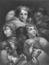 A STUDY OF HEADS. Antonio da Correggio 1835 old antique vintage print picture