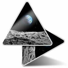2 x Triangle Stickers 10 cm - Planet Earth Space NASA Moon Blue  #24374