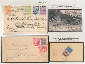 1905-1907 PARAGUAY COVER & POSTCARD TO GERMANY, RARE FROM SAN BERNARDINO COLONY