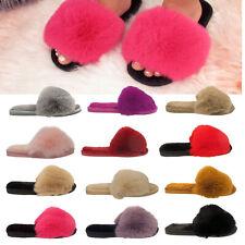 Ladies Fluffy Slippers Womens Faux Fur Open Toe Winter Warm Mules Shoes Size UK