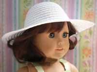 "Doll Clothes fits 18"" American Girl Summer White Straw Sun Hat Bonnet"