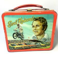 Evel Knievel 1974 Vintage Aladdin Metal Lunchbox Snake River & Car Jump Graphics