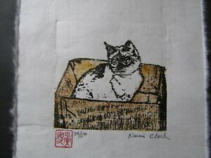 Cat in Box Original Woodblock woodcut Print Japanese Moku‐Hanga washi signed