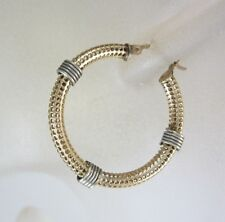 STUNNING LADIES 10K TWO-TONE GOLD FANCY HOOP EARRINGS; 4.7G