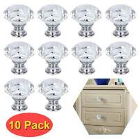 10Pcs Glass Crystal Cabinet Knob Diamond Shape Drawer Cupboard Handle Pull 30mm