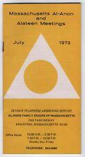 1973 MASSACHUSETTS AL-ANON Alateen Meetings BROCHURE Braintree AA Alcoholics