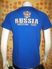 Ancien MAILLOT T-SHIRT ASICS RUSSIA WRESTLING TEAM TXL BLEU Russie Lutte Sport