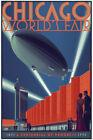 Laurent Durieux Chicago World's Fair Zeppelin Reg Screen Print Poster Mondo