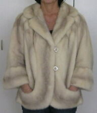 VINTAGE PEARL WHITE MINK JACKET LUSTROUS WIDE COLLAR & SLEEVES ROSE BUTTON CLOSE