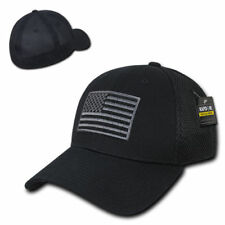 Black USA US American Flag Tactical Operator Mesh Flex Fit Baseball Hat Cap